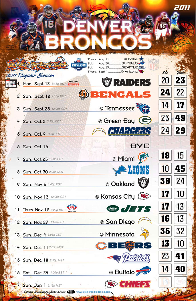 Denver Broncos 2011 schedule