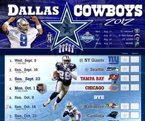 2012 Dallas Cowboys Schedule