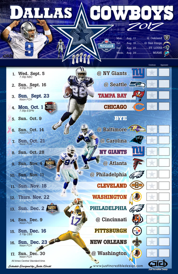 graphic regarding Dallas Cowboys Printable Schedule named 2012 Dallas Cowboys Agenda