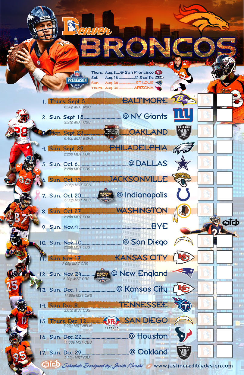 photograph about Denver Broncos Printable Schedule identify 2013 Denver Broncos Program - Exactly Amazing Style and design