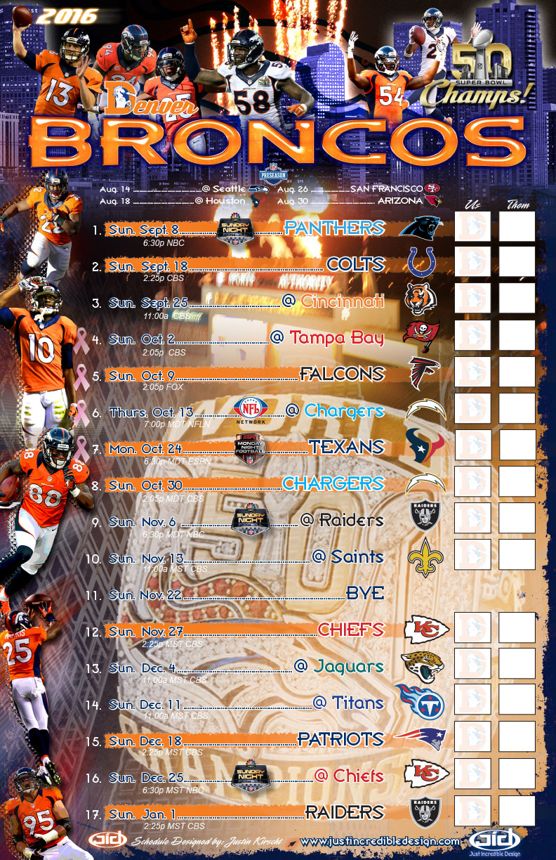 image about Denver Broncos Printable Schedule named 2016 Denver Broncos Plan - Simply Remarkable Layout